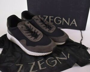 Z Zegna NWB Techmerino Sneakers Size 8 9 D US In Black and Tan $395