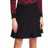 CeCe Womens Skirt True Black Size 10 Flounce-Hem Pleated Crepe A-Line $79 168