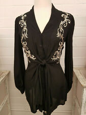 NEW - Krista Lee Black, Embroidered Button Down Voile top