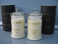 """""""NEW""""2 x LITTLE BLACK CREME BRULEE SOY WAX DRESS CANDLES 2 x 280g IN GLASS JAR"""