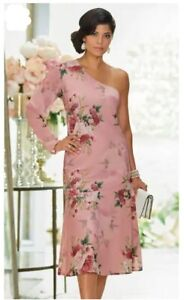 Size12 Midnight Velvet Pink Floral Aviana One-Shoulder Formal Church Dress