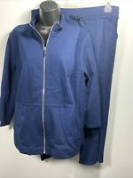 Zenergy By Chicos Womans 2PC NWT Crop Pants NWOT ZIp Jacket Size Large 2 Blue