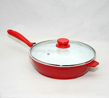 Nea 28cm SAUTE PAN Induction Gas Electric Hob Non Stick Glass Lid Deep Fry Red-W