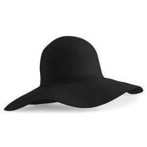 Ladies Womens Summer Sun Beach Floppy Hat Wide Large Brim Straw Black Natural