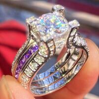 3.55Ct White Round Diamond 14K White Gold Engagement & Wedding Bridal Ring Set