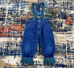 Vtg OshKosh B'Gosh Jeans Denim Suspenders Overalls Sz 3T Blue Green Plaid USA