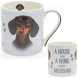 New boxed Dachshund Sausage Dog artistic gift fine china mug coffee cup Free P+P
