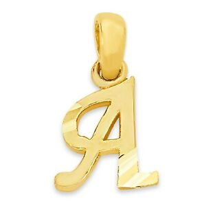 Dainty 10k Real Solid Gold Initial Pendant, Tiny Letter Charm for Bracelet