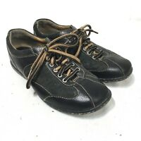 Born Handcrafted Women's Size 6.5/37 Black Leather Lace Up Oxford Shoes