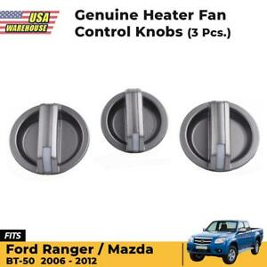 Genuine Heater Fan Control Knobs 3 Pc Made For Ford Ranger BT-50 Mazda 2006-2012