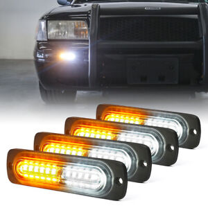 Xprite 4pcs LED Strobe Lights Grille Side Marker Emergency Lights White/Yellow