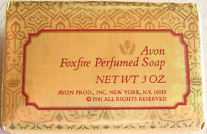 "Vintage 1981 Avon ""FOXFIRE"" Perfumed Bar Soap (Gold Wrapper) 3 oz. -NEW, SEALED!"