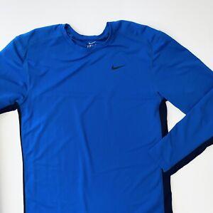 Nike Dri-Fit Mens Long Sleeve Shirt Blue Size Large