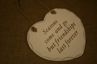 Hanging Heart Chic&Shabby Sign Plaque Fun Love to moon & Back Champagne Vintage