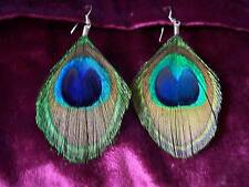 LARGE GENUINE TRIMMED PEACOCK FEATHER CLIP-ON EARRINGS