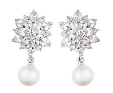 Clip On Earrings - luxury silver drop with clear stones and a pearl - Nancy S