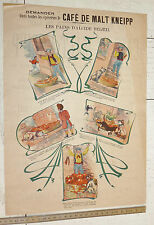 RARE AFFICHETTE ORIGINALE CHROMO PUBLICITE 1895-1910 CAFE MALT KNEIPP A. BELOEIL