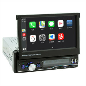 7in Retractable Car MP5 Player 1DIN Stereo Audio Touch Screen Bluetooth USB FM