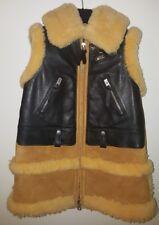 COACH Camel Black Biker Moto Shearling Leather Coat Vest S $1295
