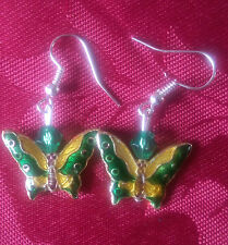 Butterfly cloisonne bead earrings, silver plated, hook, multi coloured (248)