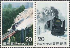 Japon 1975 TRAINS/LOCOMOTIVES à VAPEUR/LOCOMOTIVES/transport/Rail 2 V Set pr (n25171)