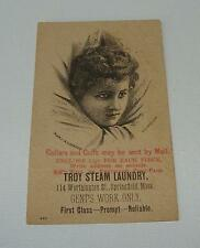 ORIG c1890's - TROY STEAM LAUNDRY - SPRINGFIELD MASS - ADVERTISING TRADE CARD