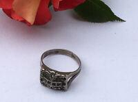 "Antique Jewellery Art Deco Marcasite Ring UK  ""U"""