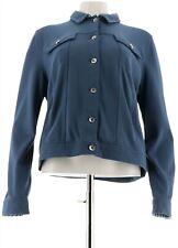 Kelly Clinton Kelly Ponte Knit Jacket Gingham Accents Indigo XS # A288287