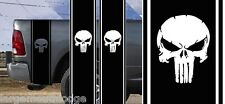 DISTRESSED PUNISHER SKULL TRUCK BED SIDE STRIPES DECAL STICKER KIT MATTE BLACK