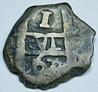 1767 Spanish Silver 1 Reales Antique 1700's Colonial Pirate Treasure Cob Coin