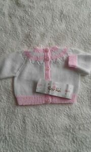 Hand Knitted Newborn baby girl Cardigan White and Pink 3 ply