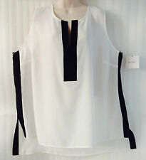 Ellen Tracy Women's Plus Blouse Top size 24/3X Black White Tunic Hi-Lo New $69