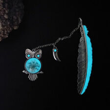 1X Large Luminous Owl Bookmark Antique Brass Feather Book Mark Reader Gift