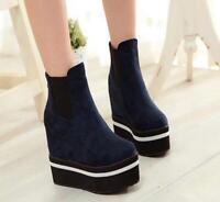 New Women Shoes Ankle Boots Casual Suede Wedge Platform Sneaker Hidden High Heel