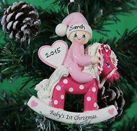 Personalised Family Christmas Tree Decoration Baby1st Xmas  Pony  Blue , Pink