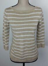 Talbots Women's Size P Sweater 100% Linen Stripe Brown White Short Sleeve Spring