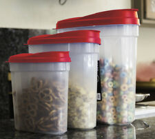 3 Pcs Plastic Cereal Dispenser Set - Dry Food Snack Nut Storage Containers Red