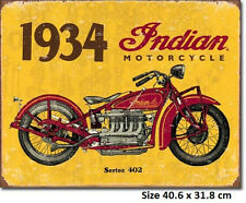 1934 Indian  Tin Sign 1929 Made In USA - Licensed Not Counterfeit Copy.