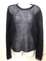 Ralph Lauren Purple Label Collection Women's L Black Sheer Mohair Blend Sweater