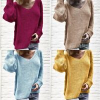 Sweater V Neck Loose Sleeve Long Tops Knitted Women's Jumper Pullover Knitwear