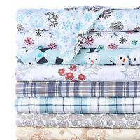 4-Piece Set: 100% Cotton Flannel Holiday & Winter Prints Deep Pocket Warm Sheets