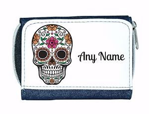 Personalised Denim Purse With Candy Skull/Flower