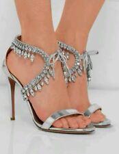 Aquazzura Milla jeweled heels size 39 silver wedding shoes Louboutin $2099