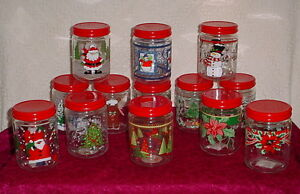 CHRISTMAS GLASS CANISTERS * PLASTIC LID *6 INCHES TALL * 4 INCH DIAMETER * NEW *