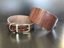 Small-medium Leather Whippet Dog Collar Greyhound Brown Pattern Bargain U.K.