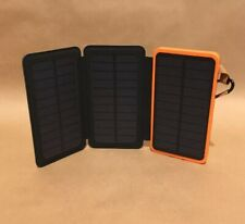 Mobile Power Bank Folding Solar Panels Orange Camping Travel USB Iphone Android