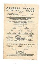 Crystal Palace v Bristol City Reserves Programme 17.9.1955