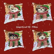 Christmas Gingerbread Elf Dog Cat Pet Photo Throw Decorative Travel Pillow
