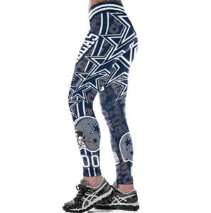 Dallas Cowboys NFL Women Slim Fitness Elastic Fiber Leggings Sport 3D Yoga Pants