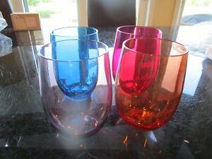 4 Mark and Graham ACRYLIC STEMLESS WINE GLASSES Wine o'clock photo shoot sample
